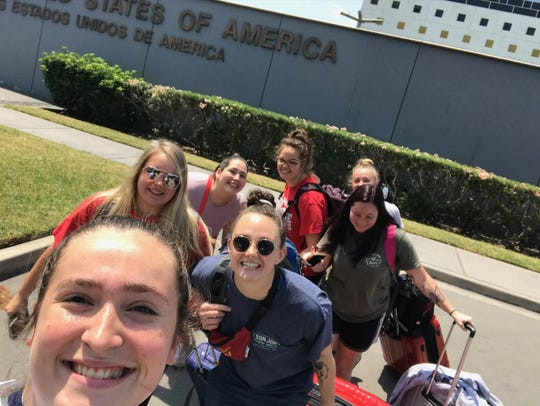 Salisbury University students leave the U.S. Embassy in Peru for their flight home.