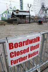 Access to the Seaside Heights beach and boardwalk  is closed off at Sheridan Avenue Monday, March 30, 2020.