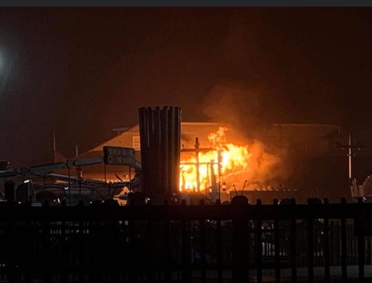 A fire at Fantasy Island Amusement Park erupted Sunday night.