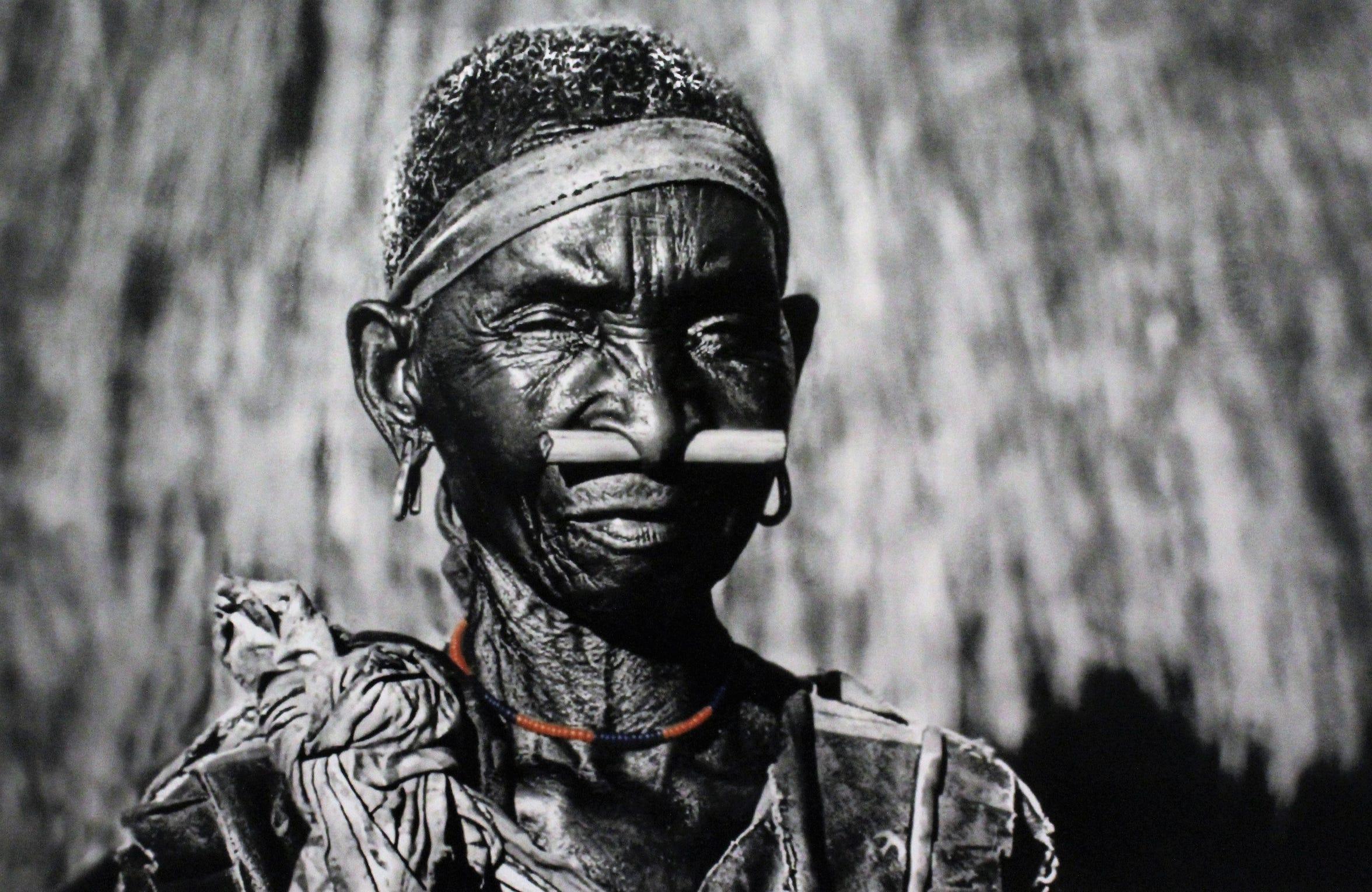 A woman with a bone in her nose, Simalundu, Zambia