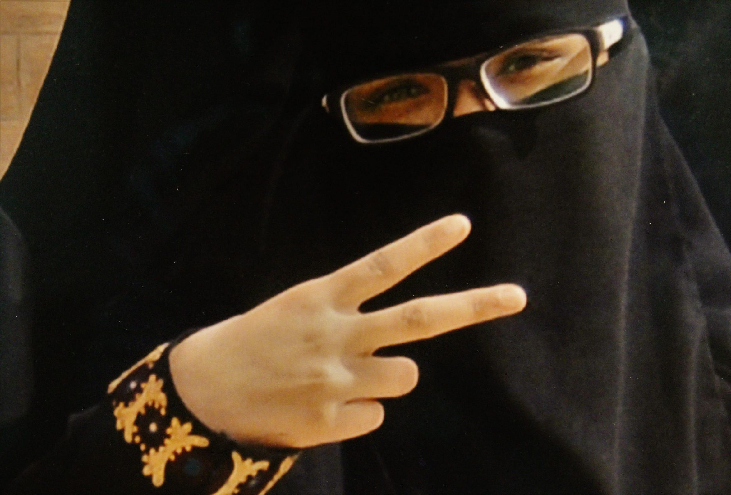 "Detail from a photo title ""Peace & Love from Saudi Arabia,"" Mada'in Saleh, Saudi Arabia"