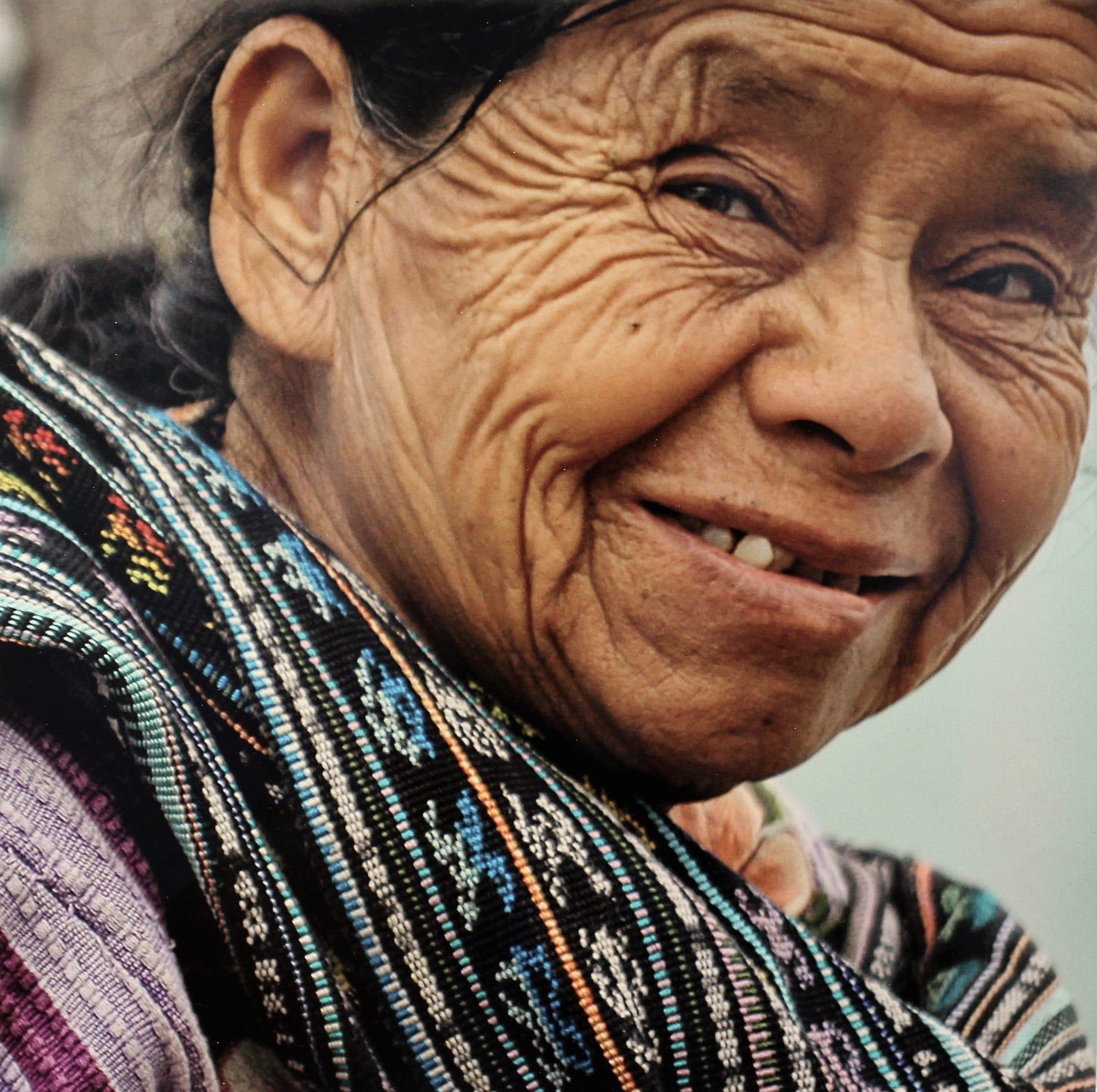 Woven cloth seller, Lake Atitlan, Guatemala