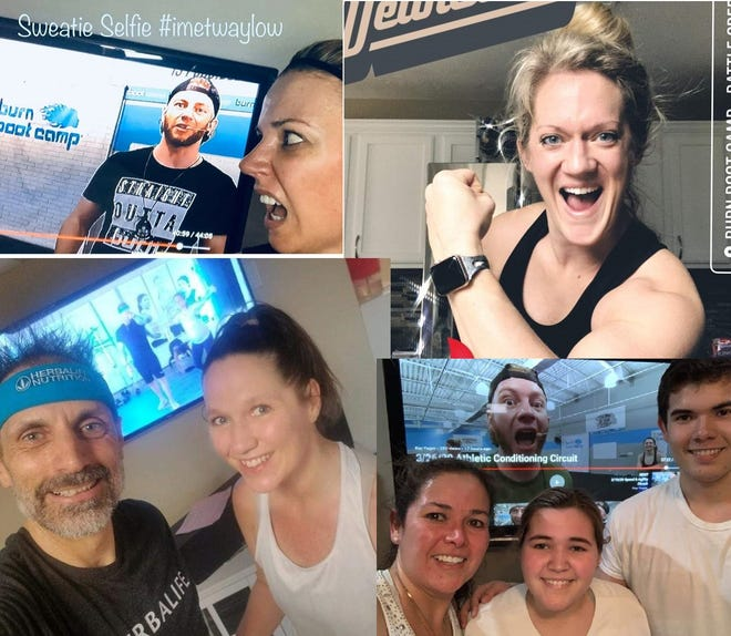 Locally, Battle Creek's Burn Boot Camp is having its members send in 'Sweaty Selfies' after they finish their workouts at home.