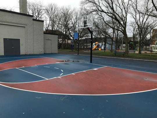 Basketball hoops at the King Rice Court in Binghamton's Columbus Park did not have any rims on March 30, 2020.