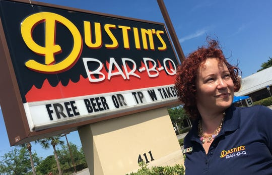 Dustin's BAR-B-Q in Melbourne just started a new deal for take out. Manager Nikki Reppin said customers get a free beer or a roll of toilet paper with each pickup order.