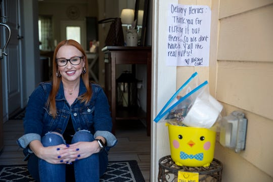 Kelsey Cook made care packages for anyone making deliveries to her home in Portland, Texas. She said that with additional deliveries as people are opting to not leave their homes due to the coronavirus, she wanted to let them know how much they are appreciated.