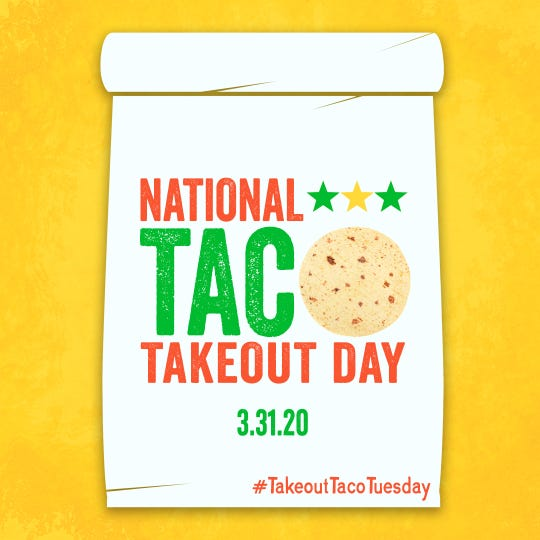 Support your favorite taqueria, taco stand, or restaurant forLaredo Taco Company's National Taco Take-out Day on Tuesday.