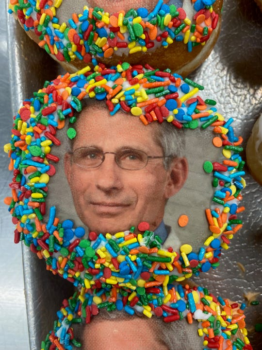 Doughnut at JB Bakery in Burlington City honors Dr.Anthony Fauci, the voice of infectious disease medicine and leading  expert on the coronavirus who addresses the nation at televised  presidential task force press conferences and during interviews