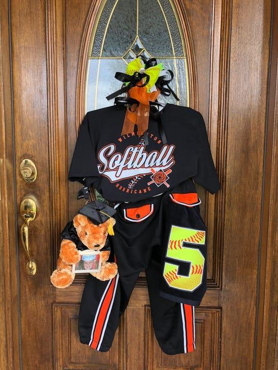 The senior door display of Wilmington pitcher Olivia Veidt. Her mother Kelli began the idea that is catching on with other schools during the shutdown.