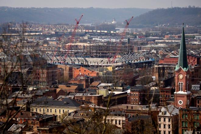 Construction continues on the FC Cincinnati stadium in the West End neighborhood of Cincinnati on Friday, March 27, 2020.