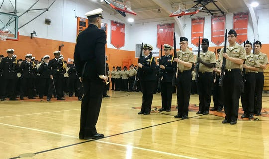 The Linden High School NJROTC Armed Drill Team performed during a ceremony following the regiment's Annual Military Inspection on Wednesday, Feb. 19.