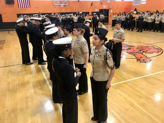 Cadets in the Linden High School NJROTC lined up to receive promotions during the unit's Annual Military Inspection ceremony on Wednesday, Feb. 19.