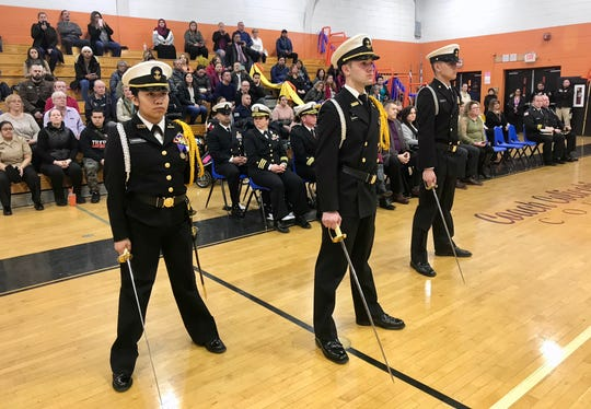 The student leadership of the Linden High School NJROTC took control of a ceremony following their Annual Military Inspection on Wednesday, Feb. 19. (From left) Executive Officer Licxy Cardoso, Commanding Officer Mario Rodriguez, and Command Master Chief Daniel Castillo.
