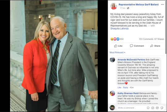 Utah Rep. Melissa Garff Ballard announced her father's passing on Facebook Sunday. He was 77 years old.