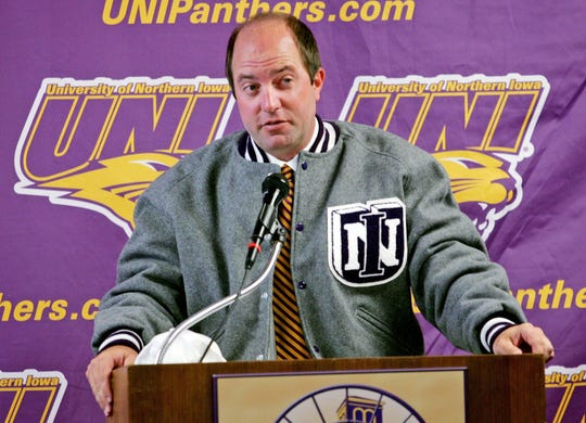 Dannen Photo by Harry Baumert. Shot 6/3/08. Cedar Falls, Ia. - s0604troydannen.3hb - Troy Dannen wears a Panther letter jacket as he addresses his first news conference as UNI athletic director on Tuesday in Cedar Falls.