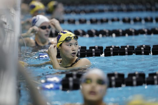 Maggie MacNeil at the 2020 Big Ten women's swimming and diving championships hosted at the University of Iowa Feb. 19-22, 2020.
