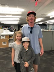 Former Detroit Tiger Robert Fick with his daughter Kennedy and son Ethan.