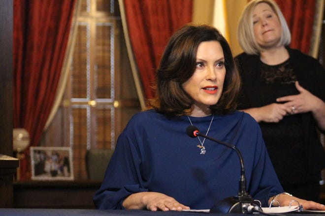 Governor Gretchen Whitmer gives an update on COVID-19 during a press conference on March 30, 2020.