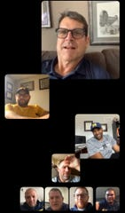 Rocco Spindler keeps in touch with Michigan coach Jim Harbaugh and the assistant coaches on video group chats.