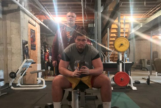 Rocco Spindler with his weightlifting trainer, Bud Leinenger