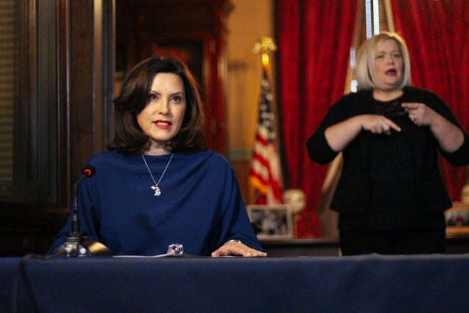 Michigan Gov. Gretchen Whitmer speaks at a press conference to update the public on the spread of COVID-19 on Monday, March 30, 2020.