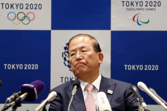 Tokyo 2020 Organizing Committee CEO Toshiro Muto attends a news conference Monday.