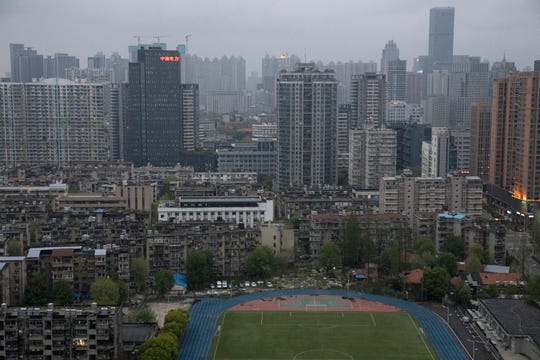 A view of the city of Wuhan taken from a quarantine hotel  on Monday.
