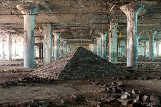 """Scott Hocking constructed """"Ziggurat and Fisher Body 21, 2007-2009"""" in an abandoned auto plant."""