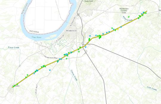 A map showing an F-2 tornado's path March 28 in Henderson, Kentucky.