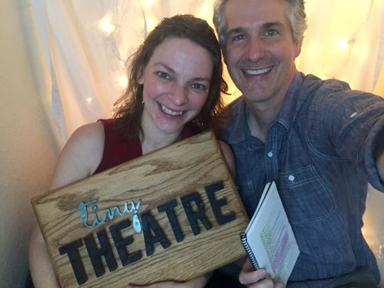 """Brendan Powers and Rachel Burttram Powers """"onstage"""" for Tiny Theatre. They stream performances three times a week from their Fort Myers storage closet."""