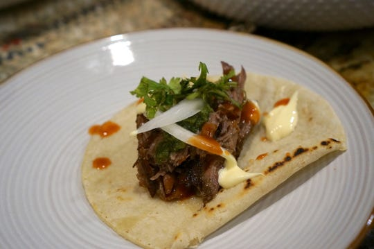 Leftover pot roast is great for tacos laced with green salsa and creme fraiche