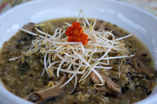 Gloria's mung bean soup with shiitake mushrooms is topped with bean sprouts from a local Asian market