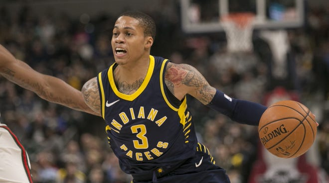 Joe Young of Indiana, during first half action, Milwaukee Bucks at Indiana Pacers, Bankers Life Fieldhouse, Indianapolis, Monday, March 5, 2018. Indiana won 92-89.