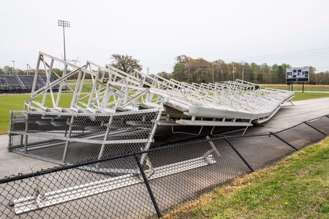 The Trinity Christian Academy football stands were destroyed by strong winds Saturday night.
