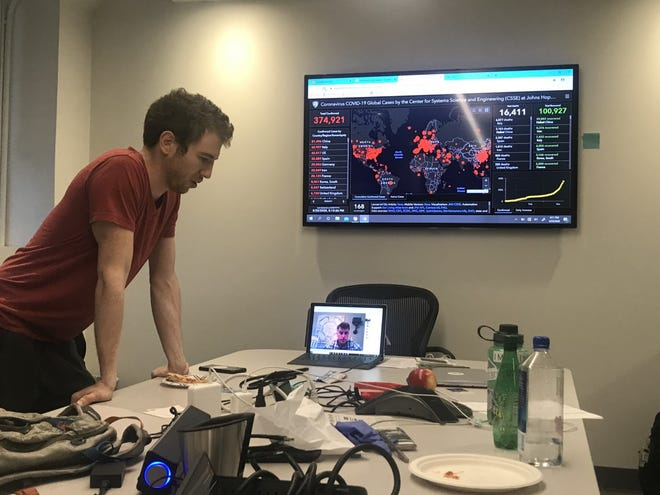 Purdue graduate Tyler Mantel holds a video conference in connection to The Ventilator Project