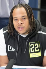 Offensive lineman Robert Hunt, shown here at the NFL Draft Combine, is UL's top 2020 pro prospect.
