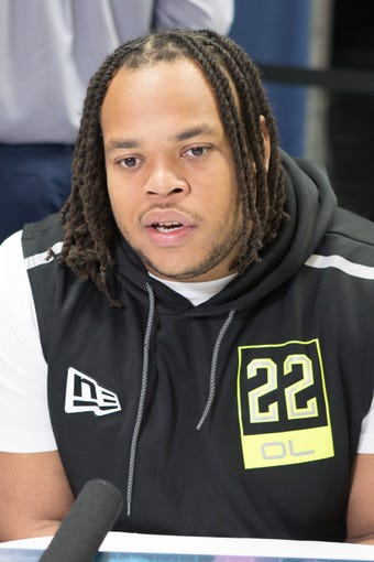Feb 26, 2020; Indianapolis, Indiana, USA; Louisiana-Lafayette offensive lineman Robert Hunt (OL22) speaks to the media during the 2020 NFL Combine in the Indianapolis Convention Center. Mandatory Credit: Trevor Ruszkowski-USA TODAY Sports