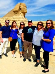 From left, Tyler Muzzin and Erin, Shannon, Ron, Mary, and Kiera Fegan pose in front of the Great Sphinx of Giza in Egypt, during a March 2020 trip.