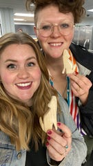 Caroline Wesley and Chrissy Tingle take a selfie after participating in a woodworking workshop at the Ann Arbor District Library in February 2020.