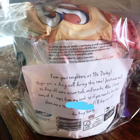 Patti Zarling received a care package recently.