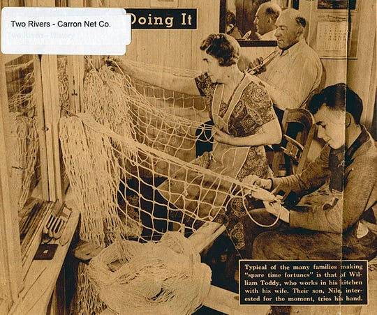 A Two Rivers family tying Carron nets from home in 1944.