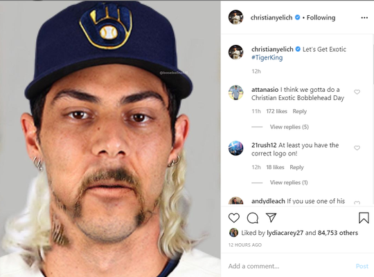 Christian Yelich matched his face with Joe Exotic's on Instagram.