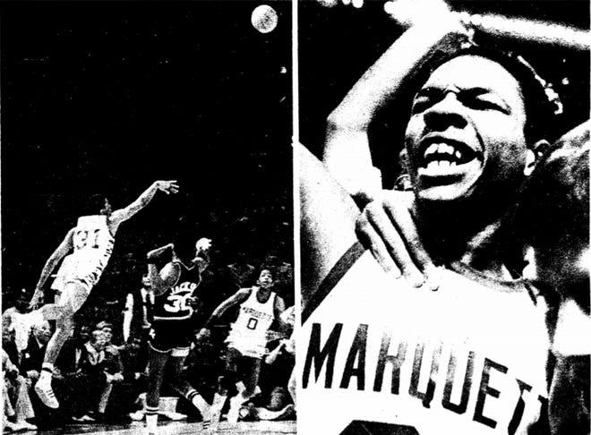 The image on the front of the Milwaukee Journal showed Glenn Rivers release a 35-foot shot to beat Notre Dame, alongside a picture of the mad celebration.