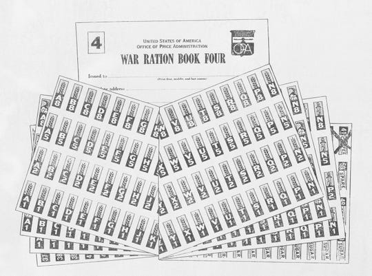 This Sept. 17, 1943 file image shows the War Ration Book Four, issued by the Office of Price Administration. Not since World War II when people carried ration books with stamps that allowed them to purchase meat, sugar, butter, cooking oil and gasoline has the entire nation been asked to truly sacrifice for a greater good.