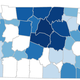 Heat map of Tennessee coronavirus cases as of March 29, 2020.