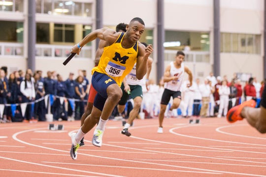 Watkins Memorial graduate Desmond Melson competes for Michigan in the Big Ten Championships during the 2018 indoor season. Melson's senior outdoor season recently was cancelled due to the coronavirus outbreak.