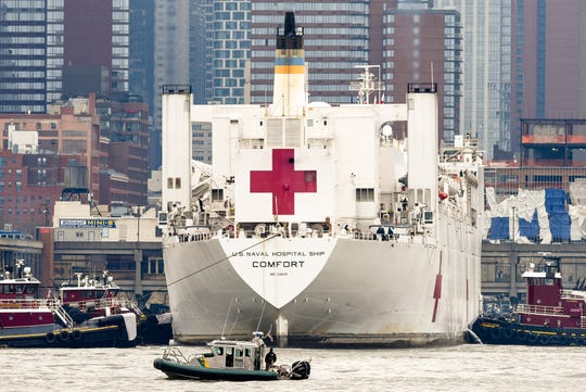 A view of the USNS Comfort from Weehawken as it travels the Hudson River to Pier 90 in Manhattan on March 30, 2020. The floating hospital is meant for patients who aren't diagnosed with COVID-19 to ease the pressure on New York hospitals.