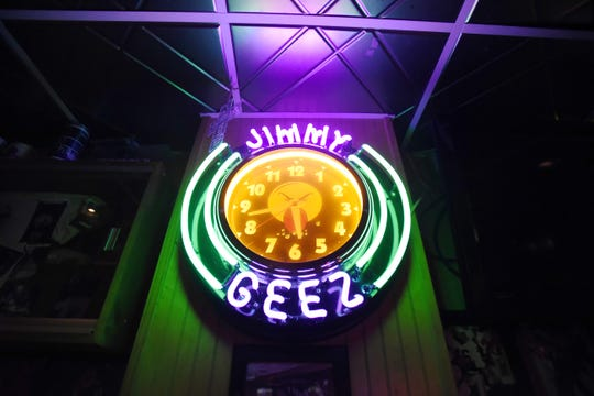 A neon clock hangs on the wall at Jimmy Geez Sports Bar & Grill in Haledon.