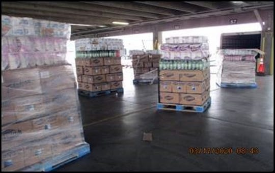Pallets of tampered cleaning supplies were removed from a box truck at the Bridge of the Americas land port in El Paso.