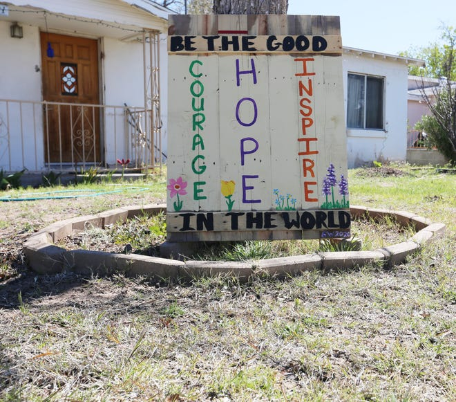 """Las Cruces resident Amy Whipple began her kindness campaign last week, by painting a sign that reads, """"be the good in the world, courage, hope, inspire."""" From there, she got the idea to share small items with her neighbors in a community cupboard she put up at the edge of her yard. On Monday March 30, 2020, Whipple said people had both started to donate items, and also to give items to the cupboard."""
